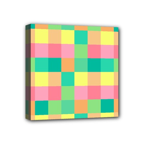 Checkerboard Pastel Squares Mini Canvas 4  X 4  (stretched) by Sapixe