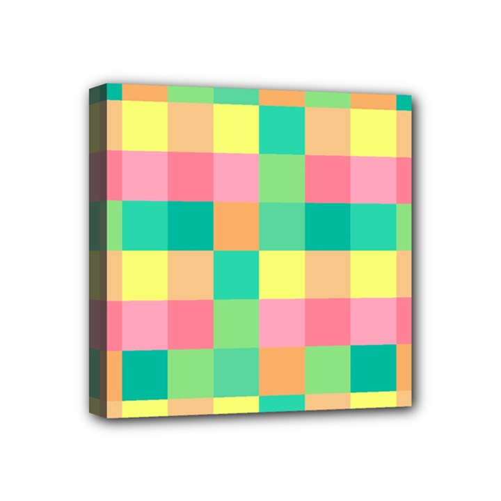 Checkerboard Pastel Squares Mini Canvas 4  x 4  (Stretched)
