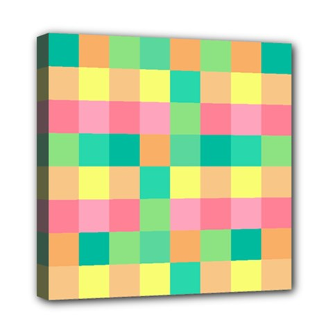Checkerboard Pastel Squares Mini Canvas 8  X 8  (stretched) by Sapixe