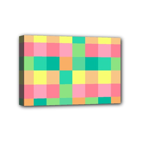 Checkerboard Pastel Squares Mini Canvas 6  X 4  (stretched) by Sapixe
