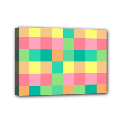 Checkerboard Pastel Squares Mini Canvas 7  X 5  (stretched) by Sapixe