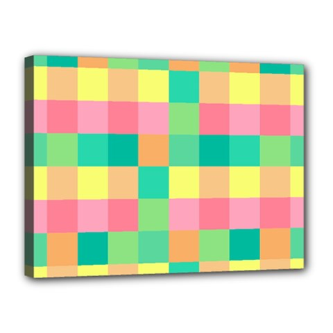 Checkerboard Pastel Squares Canvas 16  X 12  (stretched) by Sapixe