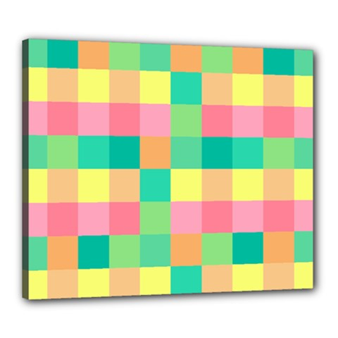Checkerboard Pastel Squares Canvas 24  X 20  (stretched) by Sapixe