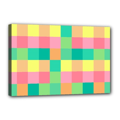 Checkerboard Pastel Squares Canvas 18  X 12  (stretched) by Sapixe