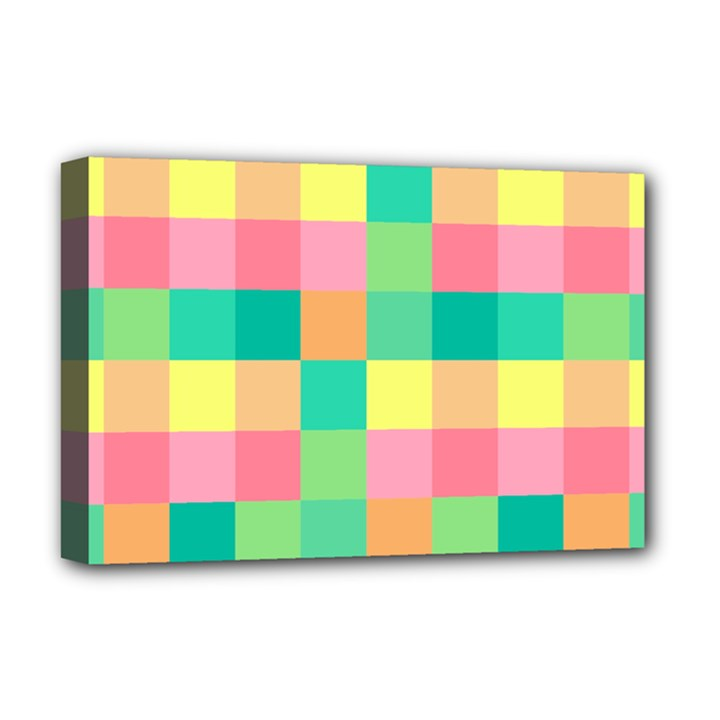 Checkerboard Pastel Squares Deluxe Canvas 18  x 12  (Stretched)