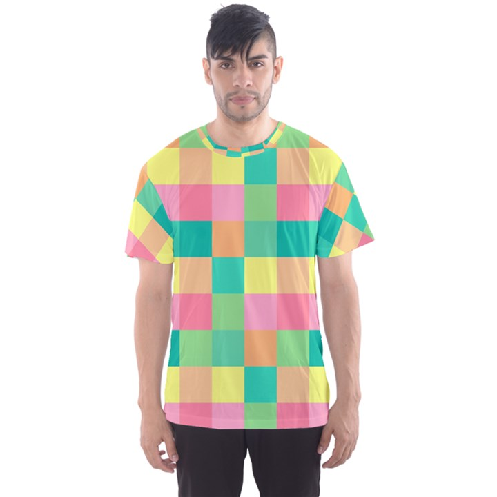 Checkerboard Pastel Squares Men s Sports Mesh Tee