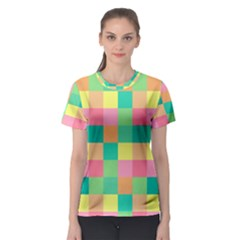 Checkerboard Pastel Squares Women s Sport Mesh Tee by Sapixe