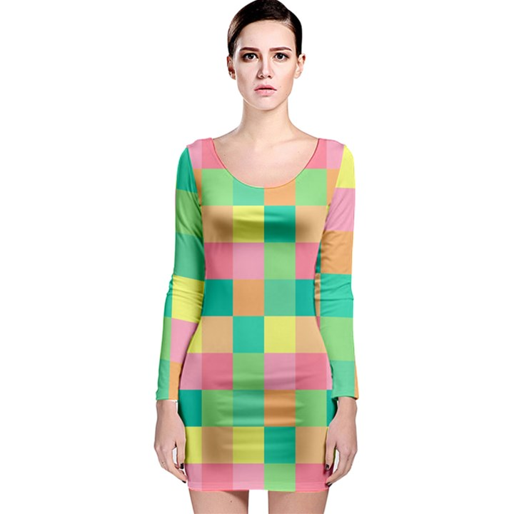 Checkerboard Pastel Squares Long Sleeve Bodycon Dress