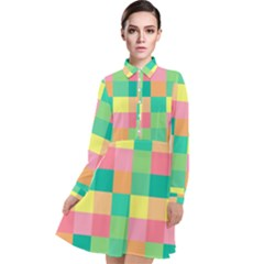 Checkerboard Pastel Squares Long Sleeve Chiffon Shirt Dress by Sapixe