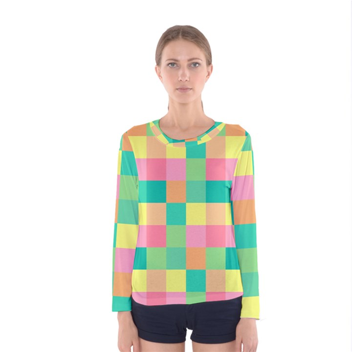 Checkerboard Pastel Squares Women s Long Sleeve Tee