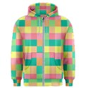 Checkerboard Pastel Squares Men s Zipper Hoodie View1