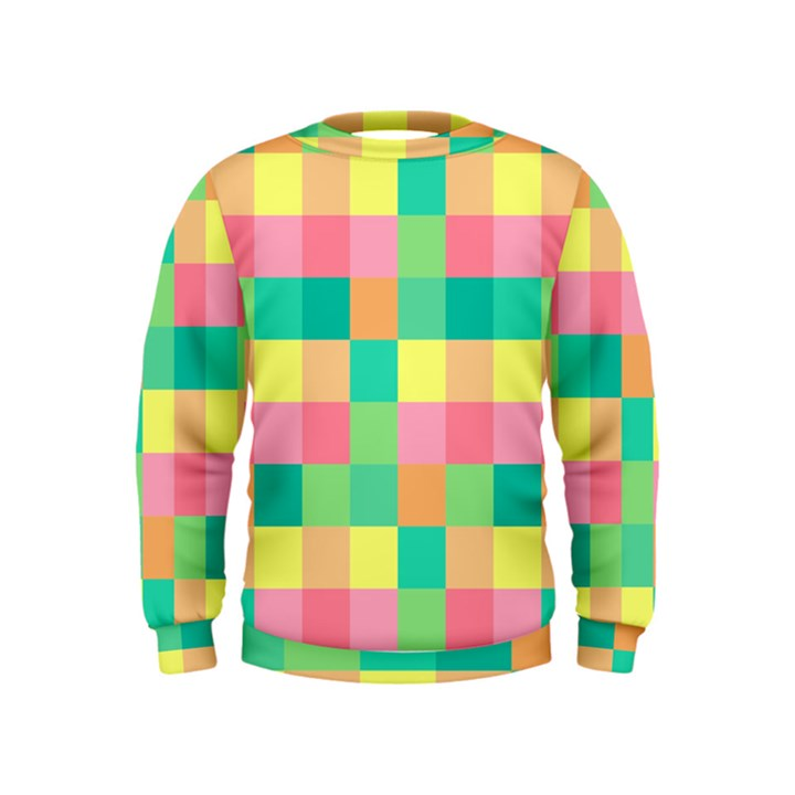 Checkerboard Pastel Squares Kids  Sweatshirt