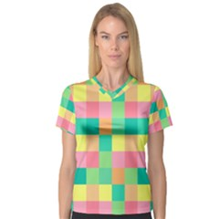 Checkerboard Pastel Squares V Neck Sport Mesh Tee by Sapixe