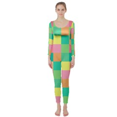 Checkerboard Pastel Squares Long Sleeve Catsuit