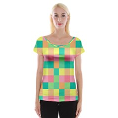 Checkerboard Pastel Squares Cap Sleeve Top