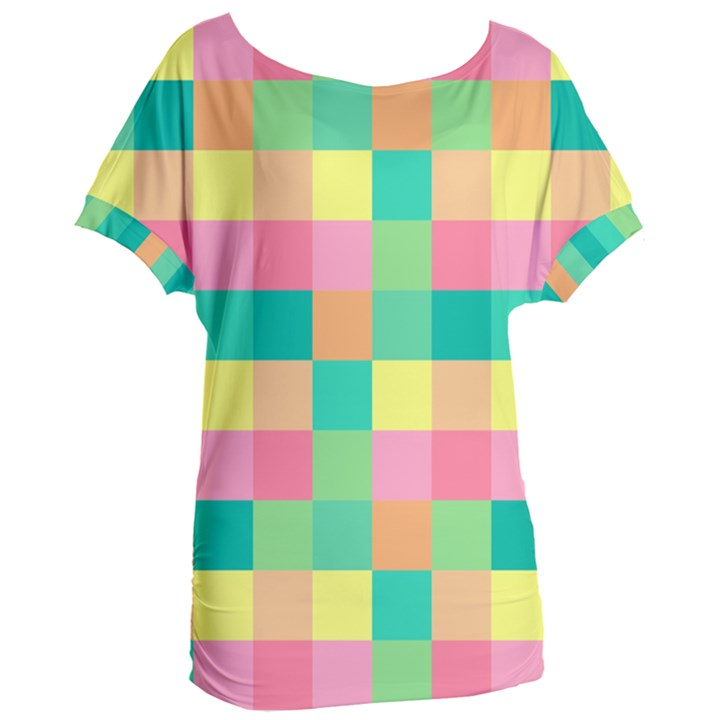Checkerboard Pastel Squares Women s Oversized Tee