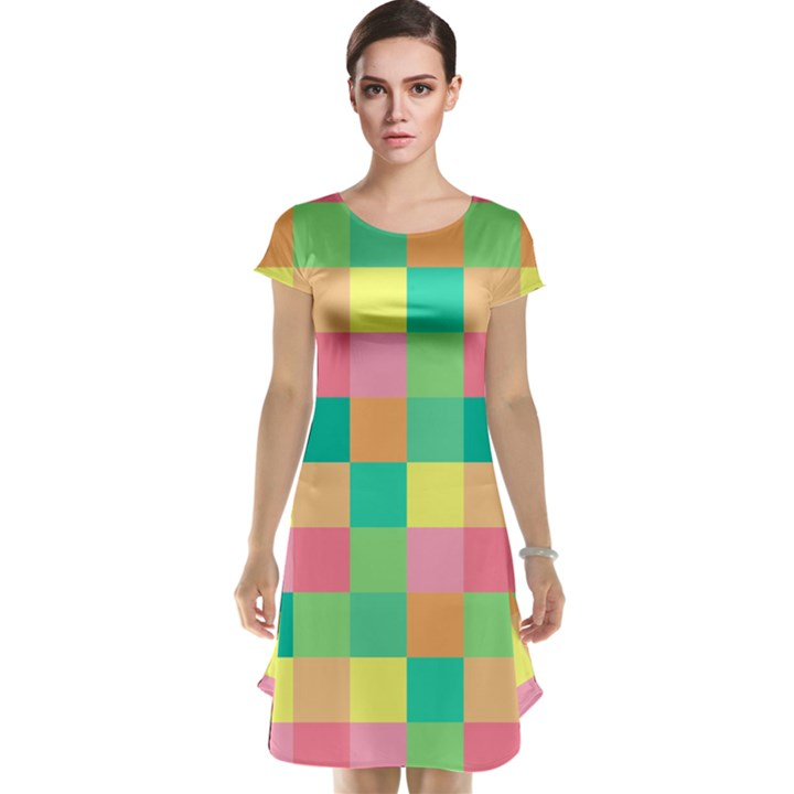 Checkerboard Pastel Squares Cap Sleeve Nightdress