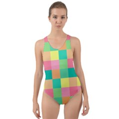 Checkerboard Pastel Squares Cut Out Back One Piece Swimsuit by Sapixe