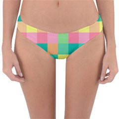 Checkerboard Pastel Squares Reversible Hipster Bikini Bottoms by Sapixe