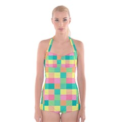 Checkerboard Pastel Squares Boyleg Halter Swimsuit