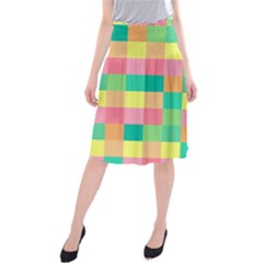 Checkerboard Pastel Squares Midi Beach Skirt by Sapixe