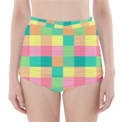 Checkerboard Pastel Squares High Waisted Bikini Bottoms by Sapixe