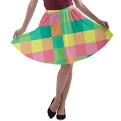 Checkerboard Pastel Squares A-line Skater Skirt by Sapixe