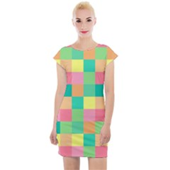 Checkerboard Pastel Squares Cap Sleeve Bodycon Dress by Sapixe