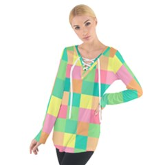 Checkerboard Pastel Squares Tie Up Tee