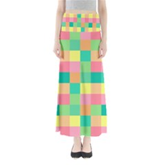 Checkerboard Pastel Squares Full Length Maxi Skirt by Sapixe