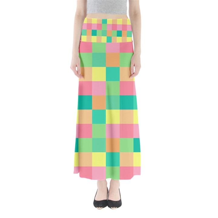 Checkerboard Pastel Squares Full Length Maxi Skirt