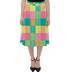 Checkerboard Pastel Squares Classic Midi Skirt by Sapixe