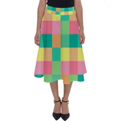 Checkerboard Pastel Squares Perfect Length Midi Skirt by Sapixe
