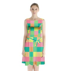 Checkerboard Pastel Squares Sleeveless Waist Tie Chiffon Dress by Sapixe