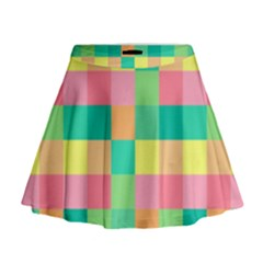 Checkerboard Pastel Squares Mini Flare Skirt by Sapixe