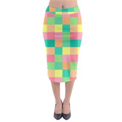 Checkerboard Pastel Squares Midi Pencil Skirt by Sapixe