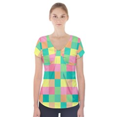 Checkerboard Pastel Squares Short Sleeve Front Detail Top
