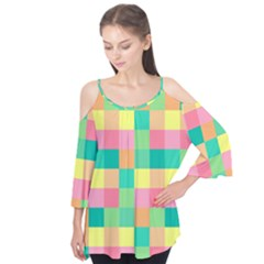 Checkerboard Pastel Squares Flutter Tees by Sapixe