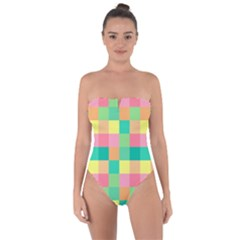 Checkerboard Pastel Squares Tie Back One Piece Swimsuit by Sapixe