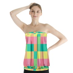 Checkerboard Pastel Squares Strapless Top