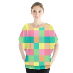 Checkerboard Pastel Squares Batwing Chiffon Blouse by Sapixe