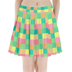 Checkerboard Pastel Squares Pleated Mini Skirt by Sapixe