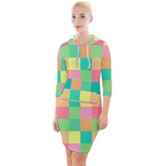 Checkerboard Pastel Squares Quarter Sleeve Hood Bodycon Dress by Sapixe