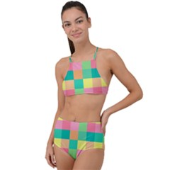 Checkerboard Pastel Squares High Waist Tankini Set by Sapixe