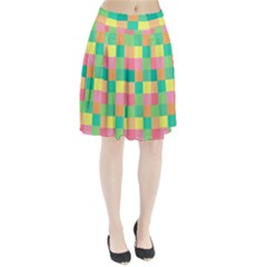 Checkerboard Pastel Squares Pleated Skirt by Sapixe