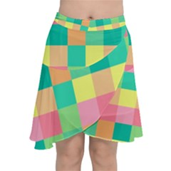 Checkerboard Pastel Squares Chiffon Wrap Front Skirt by Sapixe