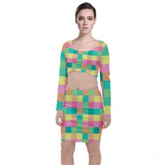 Checkerboard Pastel Squares Top And Skirt Sets by Sapixe