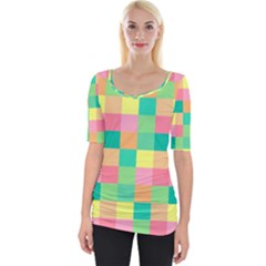Checkerboard Pastel Squares Wide Neckline Tee by Sapixe