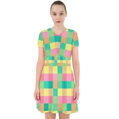 Checkerboard Pastel Squares Adorable In Chiffon Dress by Sapixe