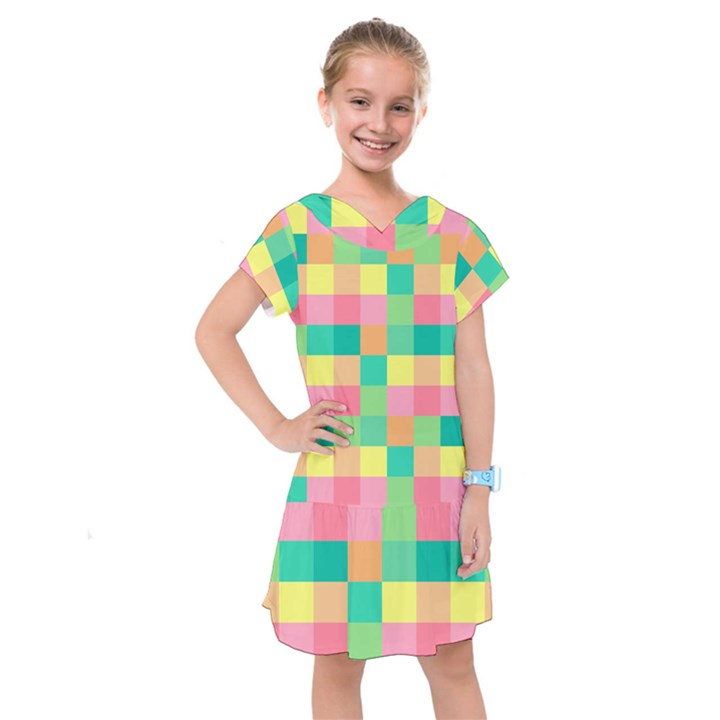 Checkerboard Pastel Squares Kids  Drop Waist Dress